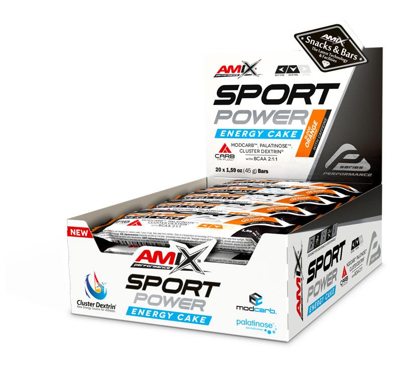 Amix Performance Sport Power Energy Cake con cafeína- 20x45gr - Naranja