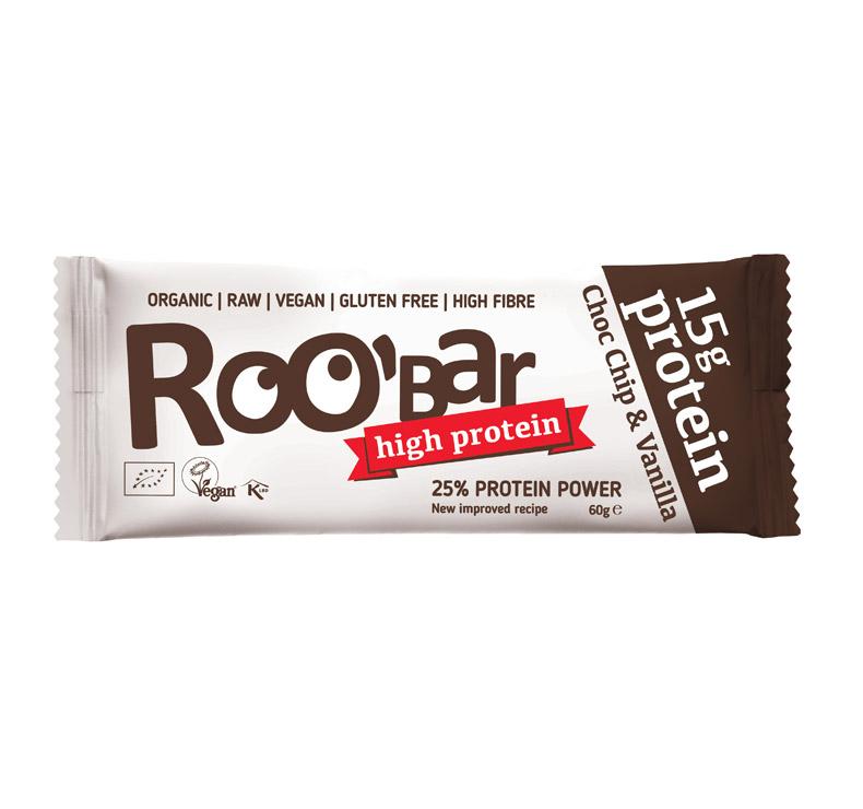 Roo' Bar + Protein - 10 x 60gr - Choco chip-Vainilla